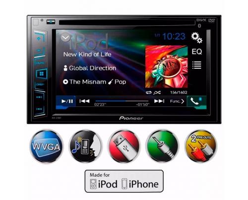 DVD Pioneer Avh 288bt Tela 6.2 Usb 2din Aux Bt Multimidia