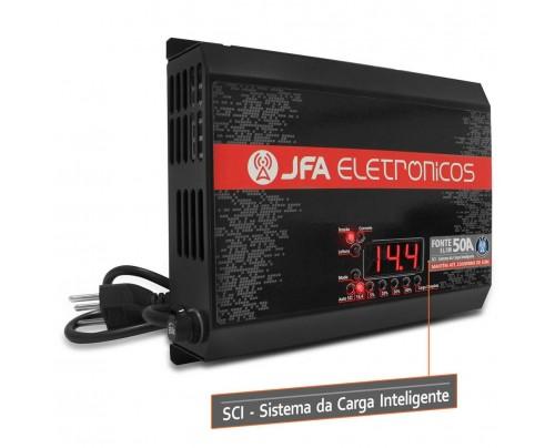 Fonte Automotiva JFA 50A 2500W SCI Carregador Bateria Bivolt Display LED Voltímetro Amperímetro