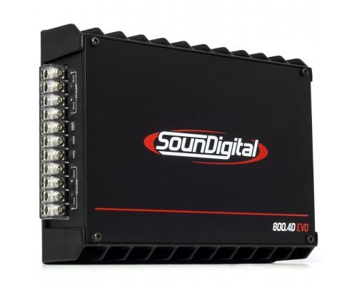 Módulo Amplificador Digital SounDigital SD800.4D 2 Ohms Stereo 4 Canais EVO II - 1000 Watts RMS
