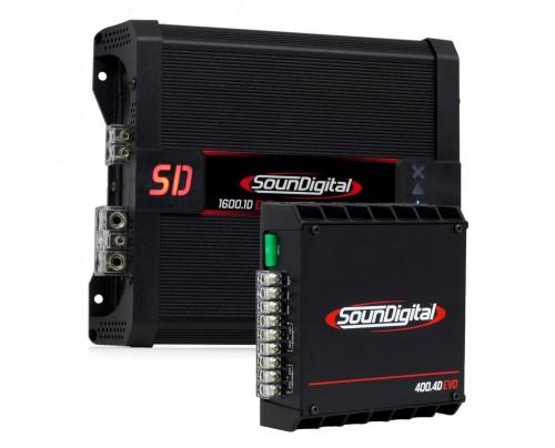 Kit SounDigital - Módulo Amplificador SounDigital SD1600.1 4 Ohms EVO II + Módulo Amplificador SounDigital SD400.4 Evo II