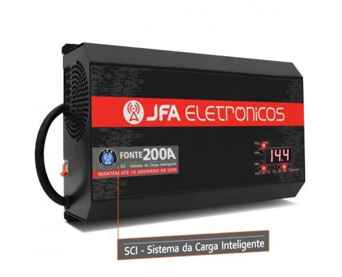 Fonte Automotiva JFA 200A 10000W SCI Carregador Bateria Bivolt Automático LED Voltímetro Amperímetro
