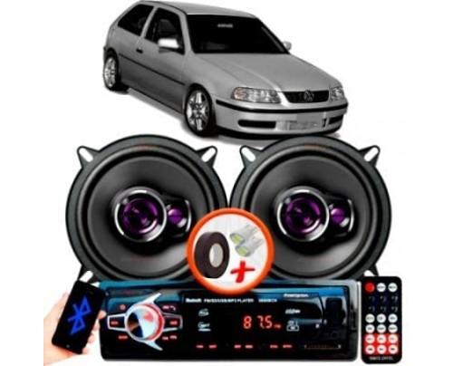 """Alto Falante Pioneer VW GOL G3 Traseiro Ts-1360br 5"""" 100W RMS 4 Ohms Triaxial Bobina Simples Preto Roxo Par + Rádio Com Bluetooth"""
