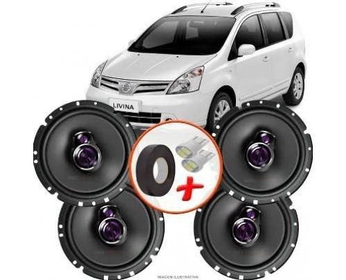"Kit Alto Falante Pioneer Nissan Livina Ts-1760br 6x6"" 200W RMS 4 Ohms Triaxial Bobina Simples"