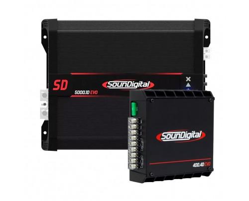 Kit SounDigital - Módulo Amplificador SounDigital SD5000.1D 2 Ohms + Módulo Amplificador SounDIgital SD400.4D Evolution