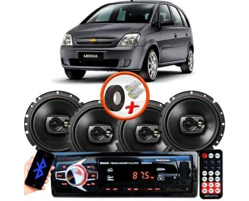 "Kit Alto Falante Pioneer GM Meriva Ts-1790br 6x6"" 240W RMS 4 Ohms Triaxial Bobina Simples Preto + Rádio Com Bluetooth"