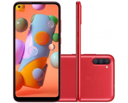 """Smartphone Samsung A11 Vermelho 64GB Android 10 Tela 6.4"""" Camera 13 MP"""