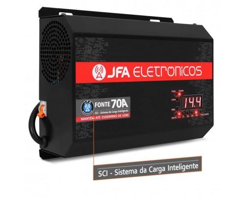 Fonte Automotiva JFA 70A 3500W SCI Carregador Bateria Bivolt Display LED Voltímetro Amperímetro