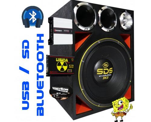 Caixa Full Trap Eros SDS 3k3 15 Pol  + Taramps 3000 Trio + 2 D200 + ST400 + Usina 220